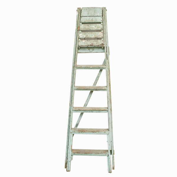 Vintage Light Green Wooden Ladders