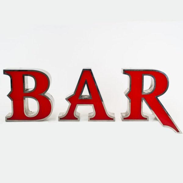 Reclaimed Letter Light Bar Sign