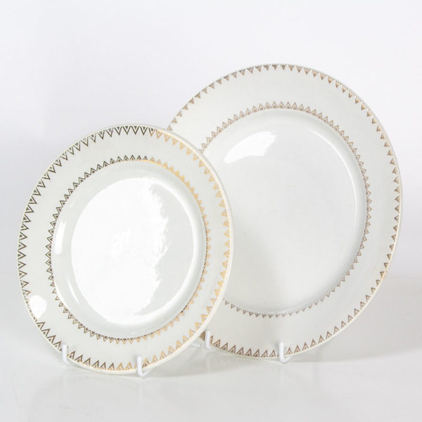 Vintage Set Gold White China Dessert Tea Plates