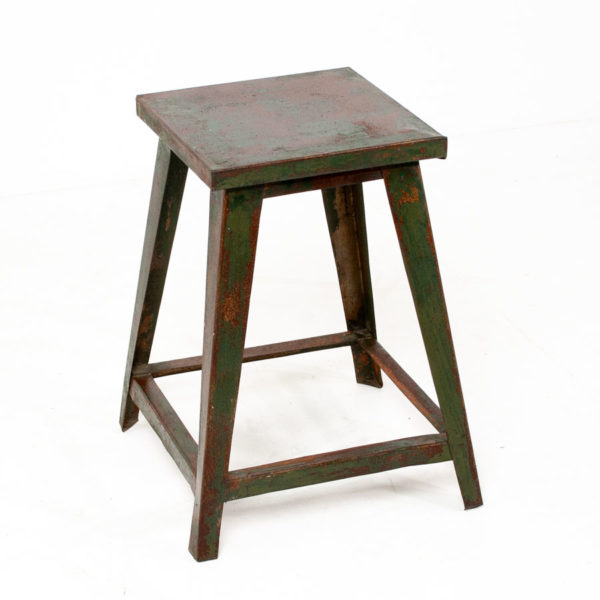 Vintage Green Metal Stool