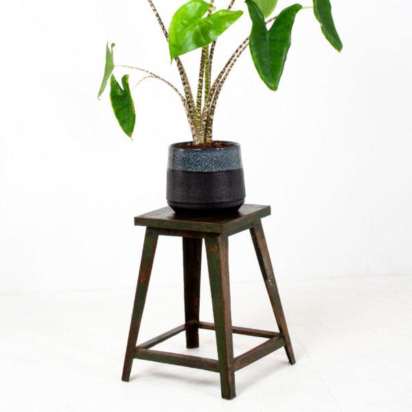 Vintage Green Metal Stool