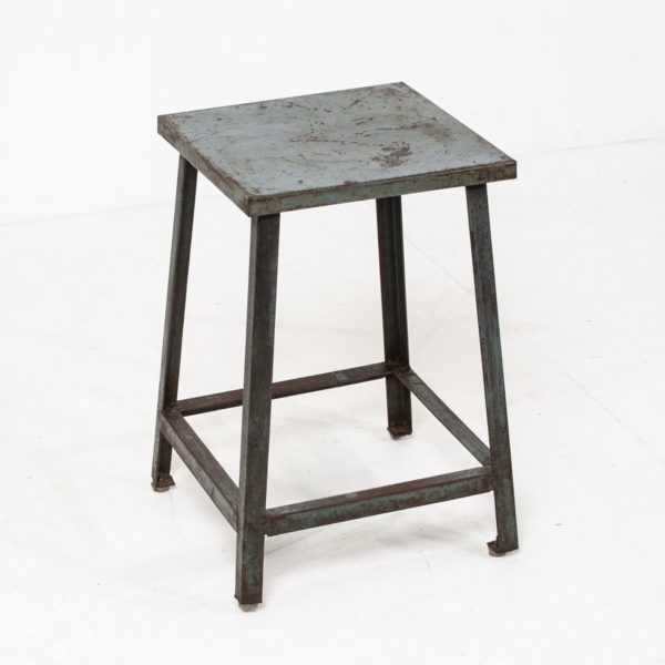 Vintage Blue Metal Stool