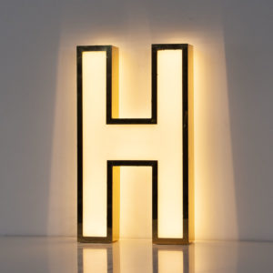 Reclaimed White Letter Light H