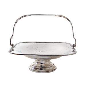 Vintage Silverplate Square Footed Basket