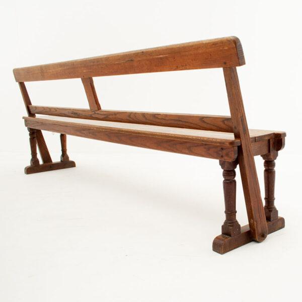 Large Vintage Solid Oak Reversible Bench