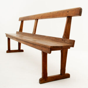 Large Vintage Solid Oak Bench