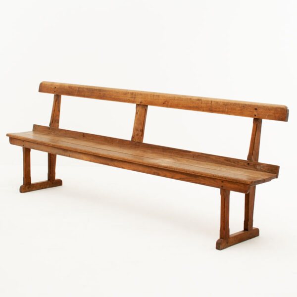 Large Vintage Solid Oak Bench