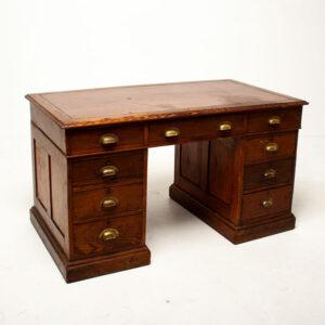 Vintage Twin Pedestal Oak Desk