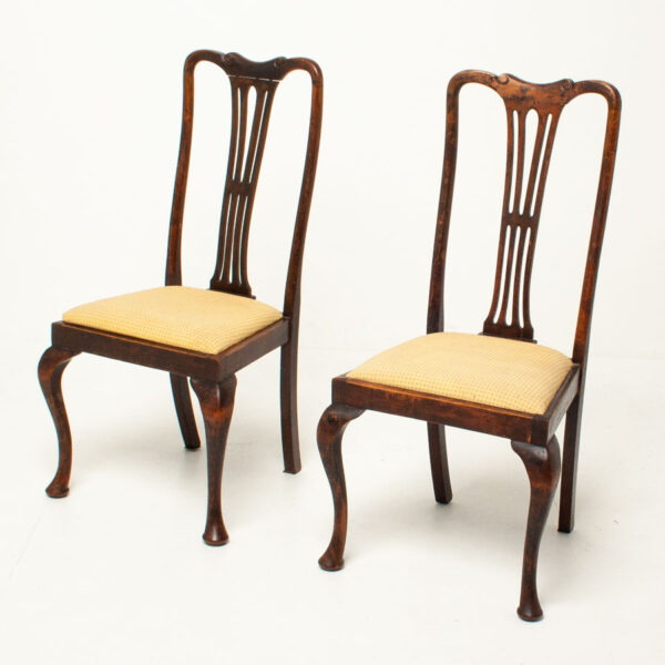 Antique, Vintage, Queen Anne Style Upholstered, Dining Chairs, Pair